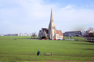 Blackheath common and church with spire London